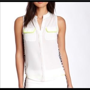 NWT Line & Dot White Button Up Tank with Zebra